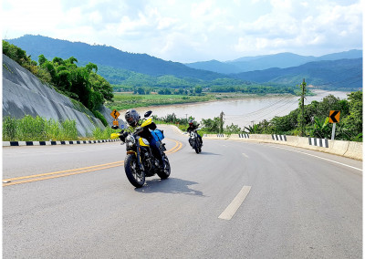 On road riding in Chiang Khong